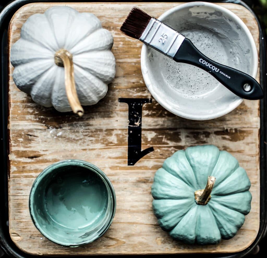 Kuerbisse bemalen GRIS und WALDEN Herbst DIY